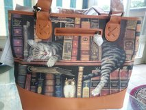 Cat Lover's Leather-Trimmed Tote Bag in Naperville, Illinois