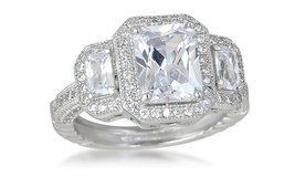 ***BRAND NEW***Sterling Silver Radiant-Cut Cubic Zirconia Ring***SZ 8 in The Woodlands, Texas