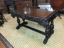 Carved Oak 2 drawer Writing Table free delivery in Lakenheath, UK