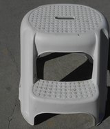 Used Sturdy White Two-Step Step Stool in Excellent Condition in Beaufort, South Carolina