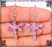 New - Dragonfly Pink Fire Opal and Pink Topaz Earrings in Alamogordo, New Mexico