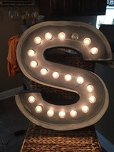 Large Lighted Metal S in DeRidder, Louisiana