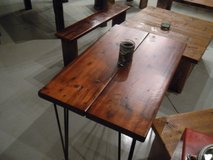 Reclaimed vintage barnwood entry accent table.  Hairpin industrial legs! in DeKalb, Illinois