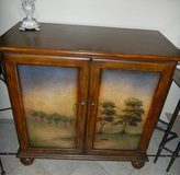 Two Door Wood Side Cabinet Storage Chest w/ Hand Painted Mural Expo Design Center in Kingwood, Texas