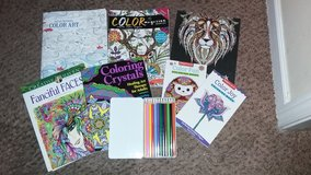 Adult Coloring Books & Colored Pencils Lot - Grown Up Art Therapy in Fort Lewis, Washington