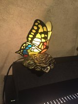 Stain glass butterfly small lamp bronze base in Morris, Illinois