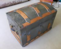 Antique  Humpback Trunk with Metal top - very clean - no Odor in Plainfield, Illinois