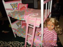 "18"" DOLL BUNK BEDS WITH CUSTOM BEDDING! ANY LITTLE GIRLS' DELIGHT!! in Fort Carson, Colorado"