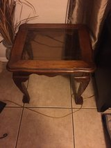 Wood glass top end table in Lawton, Oklahoma