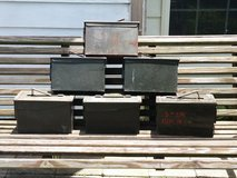 Six Vintage military metal ammo storage boxes in Fort Bragg, North Carolina