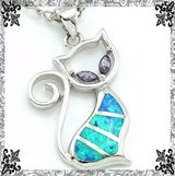 New - Cat Blue Fire Opal and Amethyst Pendant with Chain in Alamogordo, New Mexico