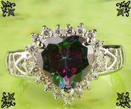 New - Heart Cut Rainbow Topaz and White Topaz Ring - Size 7 in Alamogordo, New Mexico
