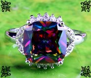New - Rainbow and White Topaz Ring - Size 10 in Alamogordo, New Mexico