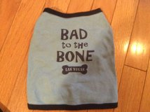 Pet Shirt - Blue Bad to The Bone Las Vegas - Tag says Medium more like a Small in Naperville, Illinois