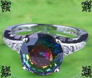 New - Rainbow and White Topaz Ring - Size 6 in Alamogordo, New Mexico