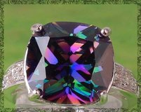 New - Rainbow and White Topaz Ring - Size 8 in Alamogordo, New Mexico