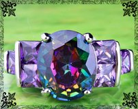 New - Rainbow Topaz and Amethyst Ring - Sizes 6, 7, 8, 10 in Alamogordo, New Mexico