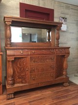 Beautiful antique tiger oak buffet in Moody AFB, Georgia