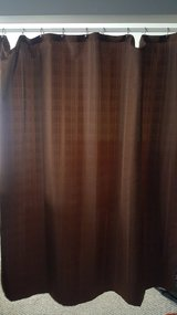 Brown Fabric shower curtain, rod and silver shower hooks in Naperville, Illinois