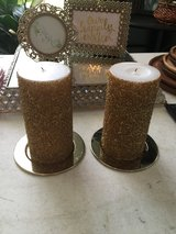 2 gold glitter candles in Cleveland, Texas