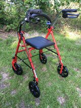 Drive Medical Four Wheel Rollator with Fold Up Removable Back Support, Red in Fort Polk, Louisiana