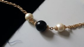 Necklace black and pearl bead gold chain long length in Ramstein, Germany