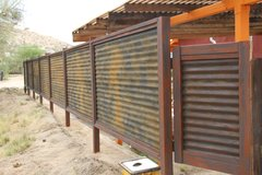 "CUSTOM MADE CORRUGATED Metal & Wood Fence ""Privacy"" Patina Rust or Unpainted ""look"" in 29 Palms, California"