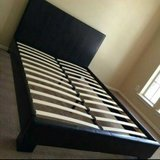 Queen Black Leather Bed in Spring, Texas