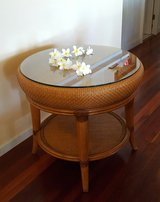 Tommy Bahama Round Glass Top Table -Reduced in Beaufort, South Carolina