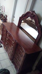 Beautiful Vintage 12 Drawers Mahogany Triple Dresser With Mirror By Rivers Edge Furniture Company in Kingwood, Texas