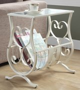 Metal end table with magazine holder in Glendale Heights, Illinois