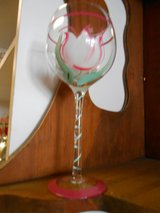 Wine Glasses Pink Flower in Cherry Point, North Carolina