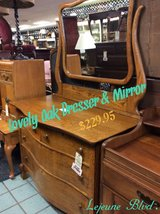 Lovely Oak Dresser & Mirror in Camp Lejeune, North Carolina