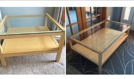 Maple/glass coffee table & end table in DeKalb, Illinois