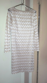 Tan & Off-white Lacy A-line Dress - Fully lined in Fort Bragg, North Carolina
