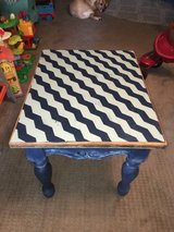 Chalk Painted Chevron Pattern End Table in Baytown, Texas