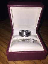 14KW 3/4 CTW PC Quad CTR Bridal Set w/ men's Tungsten Carbide wedding band in Fort Bliss, Texas