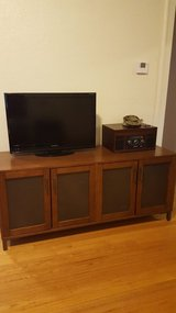 Large wood/metal tv stand media cabinet in Lackland AFB, Texas