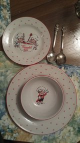 Cambell Soup 3 Piece dish set & 2 silver plate Cambell kids spoons in Batavia, Illinois