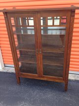 Antique Mission Style Oak China Closet Cabinet in Cherry Point, North Carolina