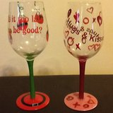 Pair of holiday themed wine glasses in Beaufort, South Carolina