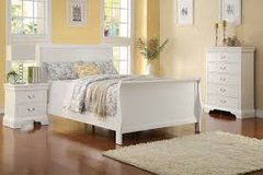 White Sleigh Bed in Fort Irwin, California