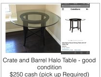 Crate and Barrel, Glass Top Round Breakfast Table in Katy, Texas
