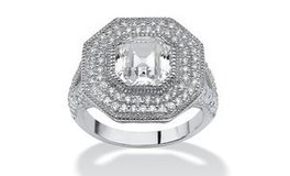 ***WOW! This Is GORGEOUS..3.15 TCW Ascher-Cut CZ Halo Hexagon Ring in Sterling Silver*** in Cleveland, Texas