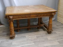big solid table , oak with leon carvings in Baumholder, GE