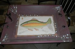 LARGE 22X16 Wooden Hand Painted Rainbow Trout Fish Tray Wood in Kingwood, Texas