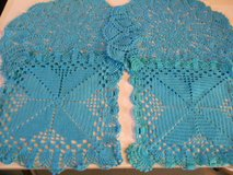 This is a set of 2 round doilys and 2 square doilys Teal Blue Cotton in Phoenix, Arizona