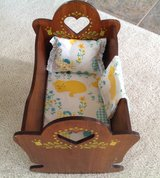 Wooden doll cradle in Glendale Heights, Illinois