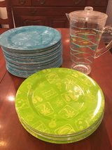 Outdoors plates and pitcher in turquoise and neon green in Clarksville, Tennessee