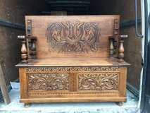 Stunning restored solid oak heavily carved monks bench - delivery available in Lakenheath, UK